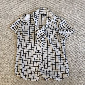 Brooks Brothers square pattern tie neck blouse